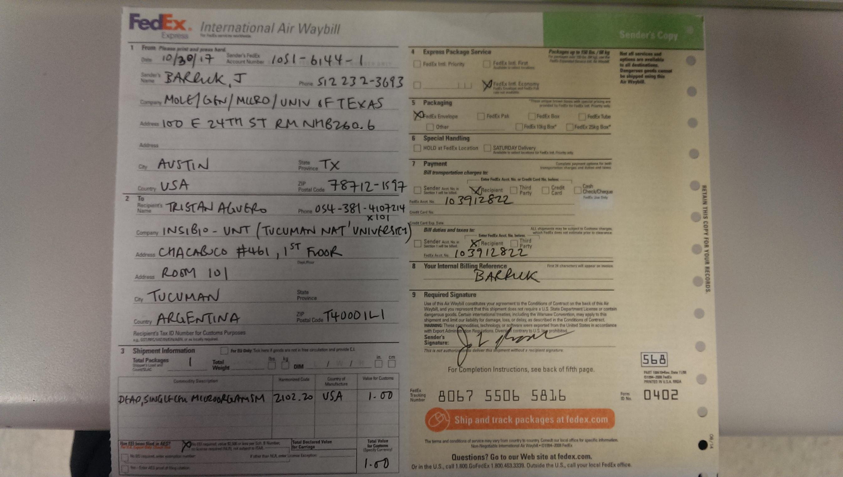 Form air fedex international pdf waybill